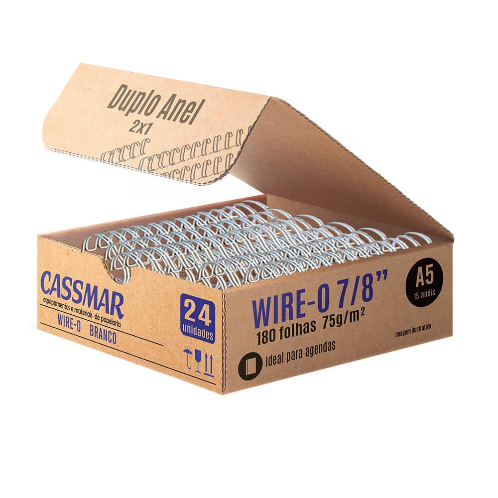 Wire-o para Encadernação 2x1 A5 Branco 7/8 para 180fls 24un