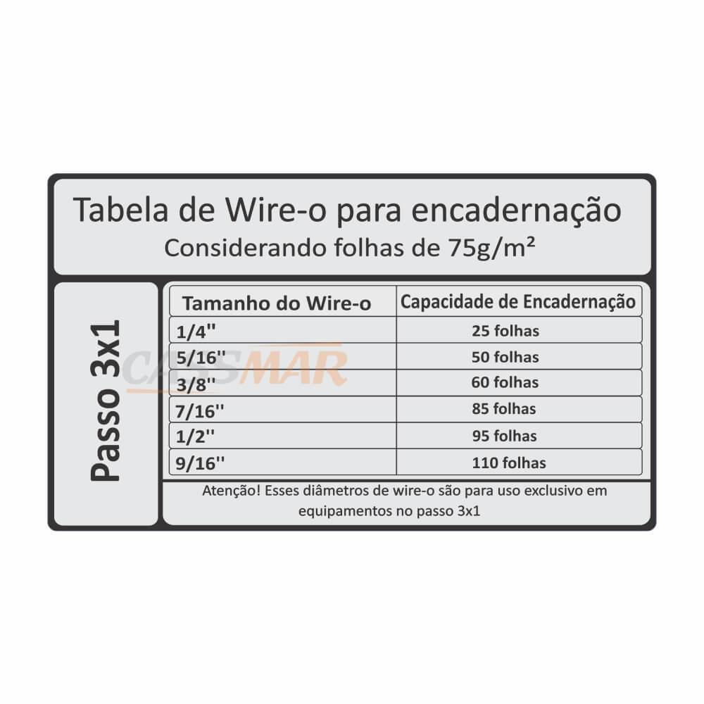 Wire-o para Encadernação 3x1 A4 Branco 1/2 para 95fls 100un