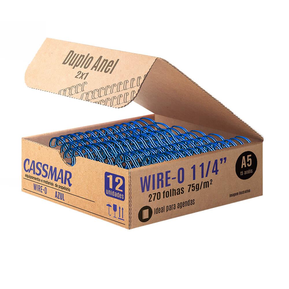 Wire-o para encadernação A5 1 1/4 2x1 para 270fls azul 12un