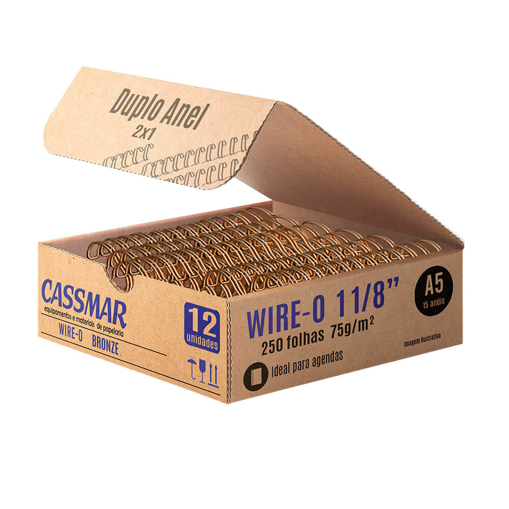 Wire-o para encadernação A5 1 1/8 2x1 para 250fls bronze 12un
