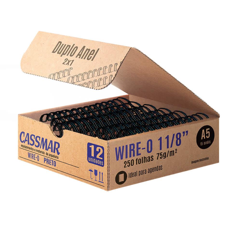 Wire-o para encadernação a5 1 1/8 2x1 para 250fls preto 12un