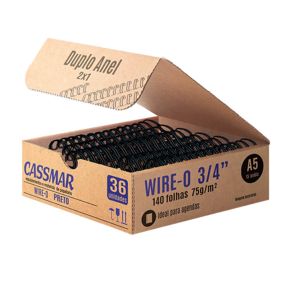 Wire-o para encadernação A5 3/4 2x1 para 140fls preto 36un