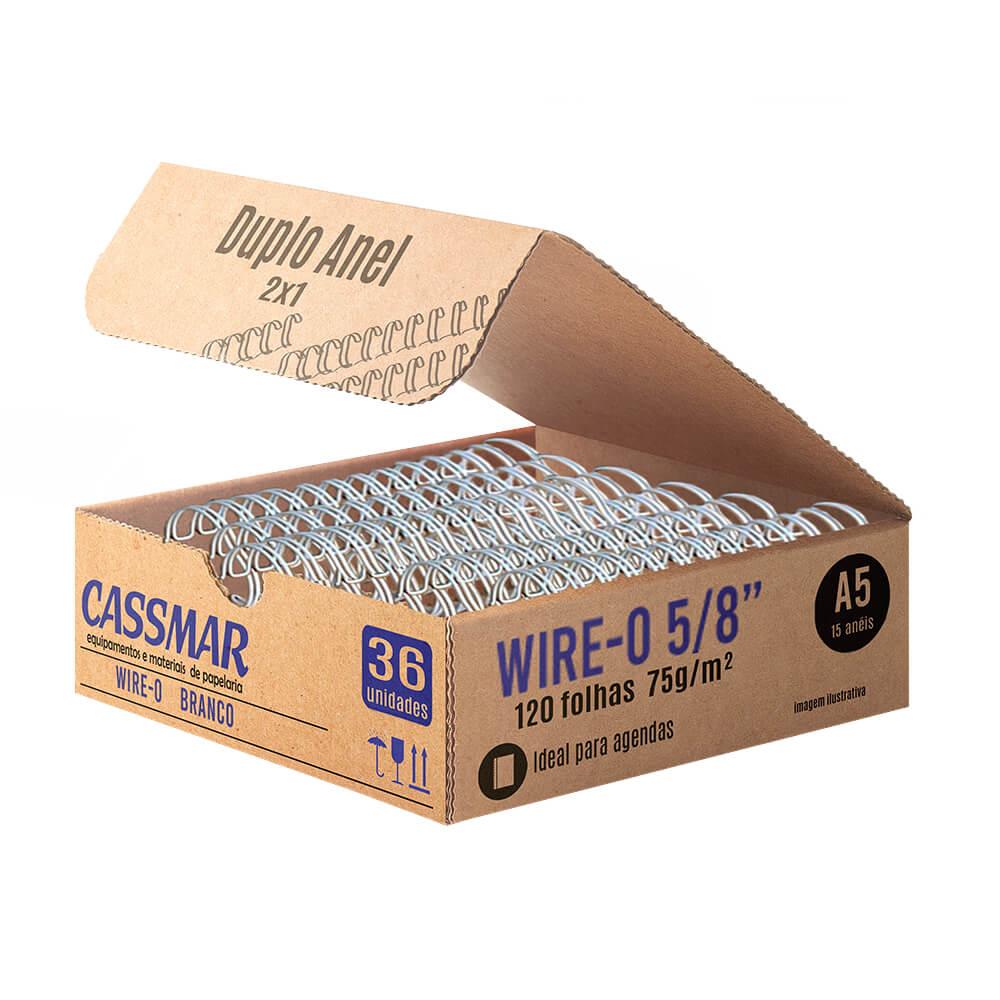 Wire-o para Encadernação A5 5/8 2x1 para 120fls Branco 36un