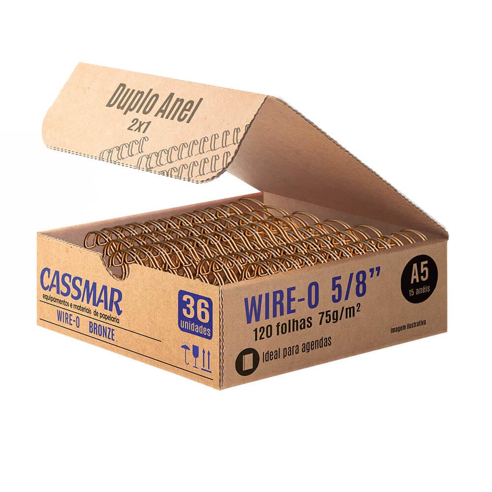 Wire-o para encadernação A5 5/8 2x1 para 120fls bronze 36un