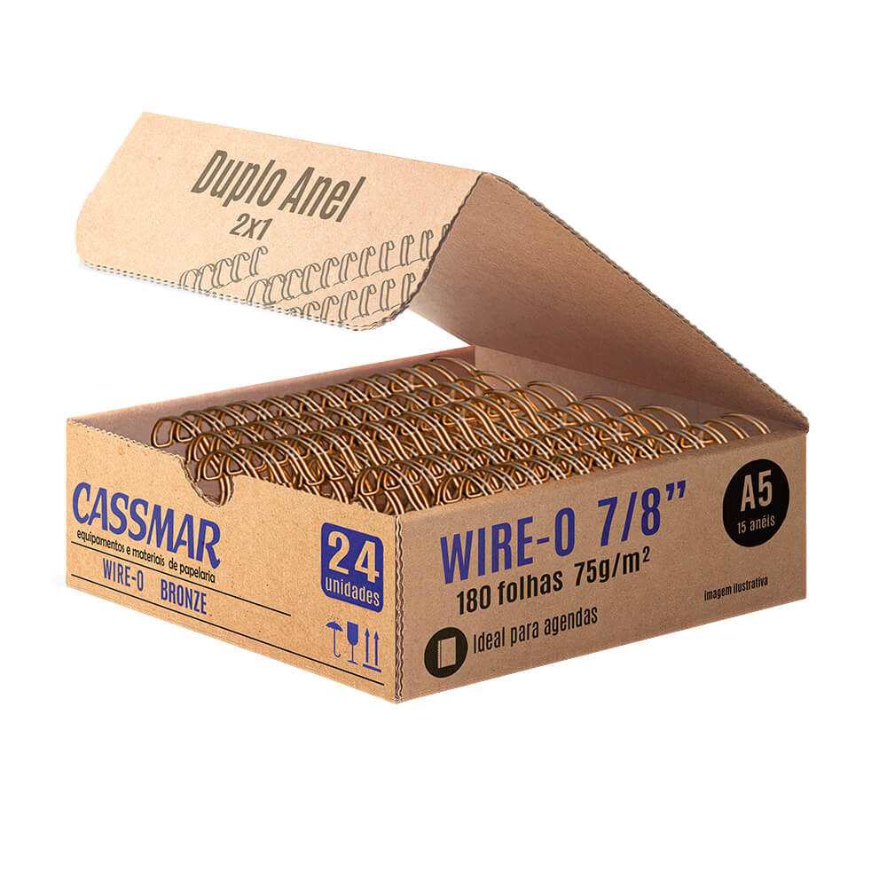 Wire-o para encadernação A5 7/8 2x1 para 180fls bronze 24un