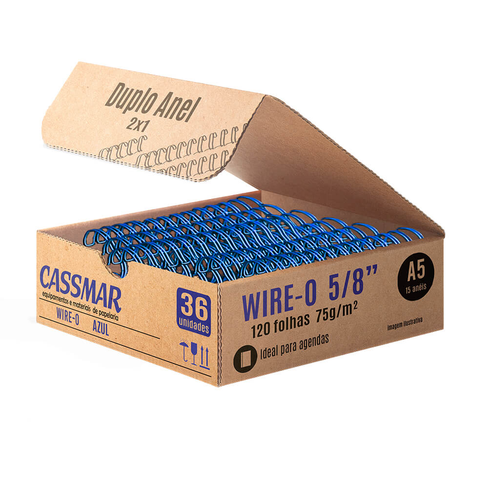 Wire-o para encadernaçãoA5 5/8 2x1 para 120fls azul 36un
