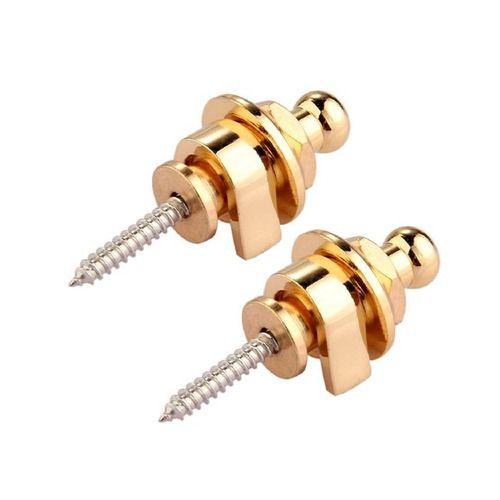 Kit Par Strap Lock Dourado N Zaganin Para Guitarra Violão