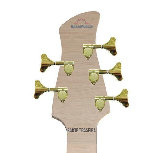 Kit Tarraxa Baixo Contrabaixo Blindada Dourada Gold 5 Cordas