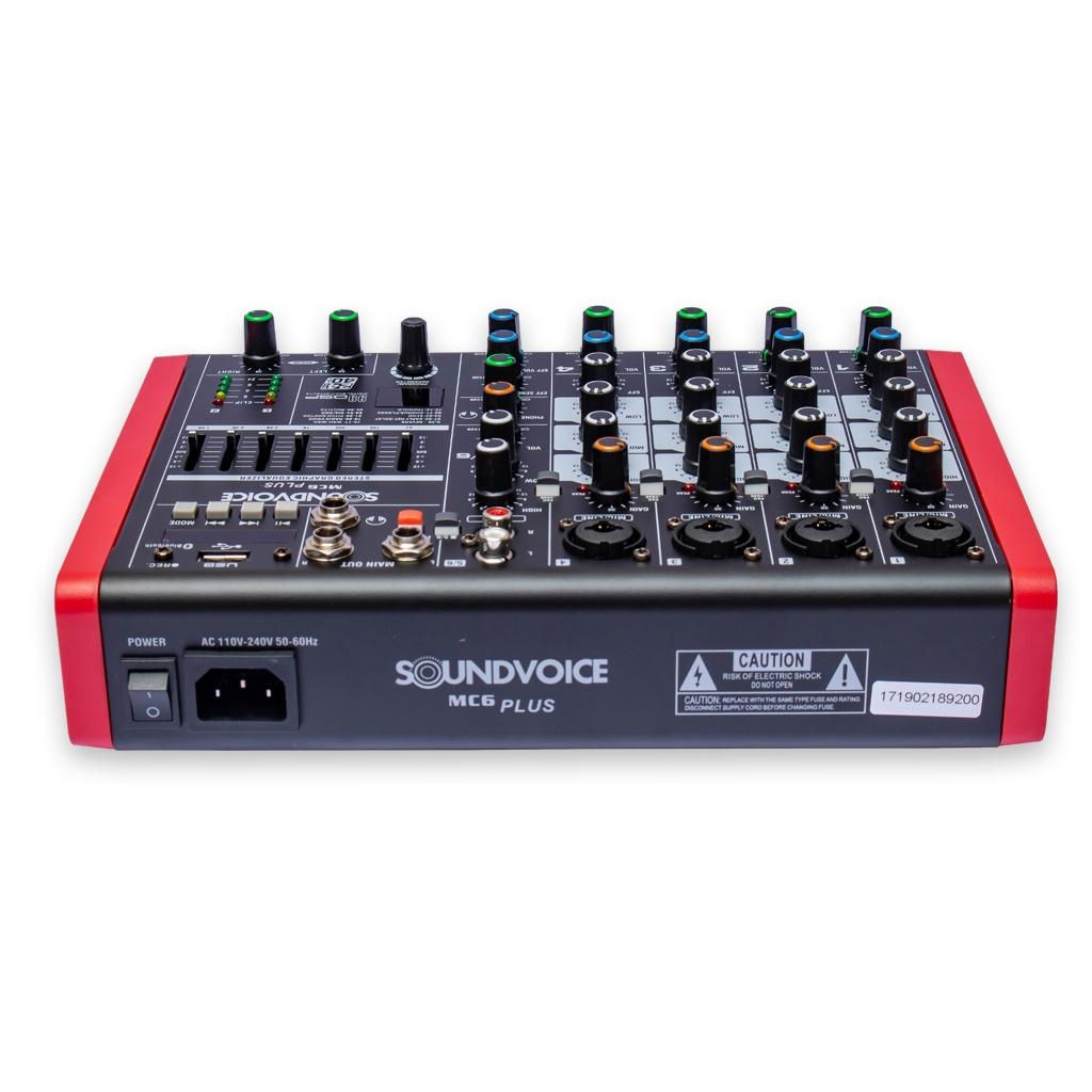 MESA DE SOM SOUNDVOICE MC6 PLUS USB PHANTOM EFEITO EQ