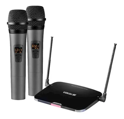 Microfone Sem Fio Duplo Bastão Profissional Vokal Vla42 Uhf Frequência Digital Bateria Lithium