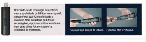 Microfone Sem Fio Duplo Bastão Profissional Vokal Vla42 Uhf Frequência Digital Canto Voz