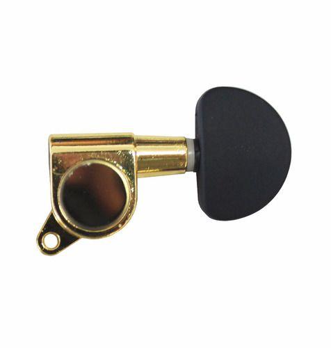 Tarraxa Tarracha Violão Aço Dourada Cabeça Preta Blindada 6u