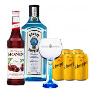 Bombay Sapphire 750ml, Monin Cereja 700ml, Schweppes Tônica 6un 350ml e Taça Oficial Cristal Bombay