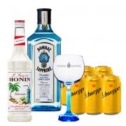Bombay Sapphire 750ml, Monin Falernum 700ml, Schweppes Tônica 6un 350ml e Taça Oficial Cristal Bombay