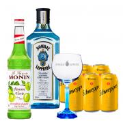 Bombay Sapphire 750ml, Monin Maça Verde 700ml, Schweppes Tônica 6un 350ml e Taça Oficial Cristal Bombay