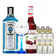 Drink in House - Bombay Sappphire, Monin Cereja 700ml, Taça Cristal Oficial Bombay Sapphire e 6un Tônica London Essence Classic