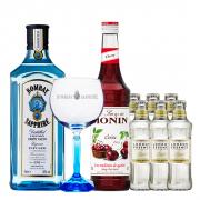 Drink in House - Bombay Sappphire, Monin Cereja 700ml, Taça Cristal Oficial Bombay Sapphire e 6un Tônica London Essence Classic