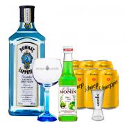Gin Bombay Sapphire 750ml, Miniatura Monin Maçã Verde 250ml, Taça Cristal Bombay Sapphire, Dosador Monin com 6un Tônica Schweppes 350ml