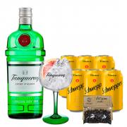 Gin Tônica Classic In House - Tanqueray 750ml, Schweppes Tônica 6un 350ml, Taça Oficial Tanqueray e La Casa Rica Zimbro 15g