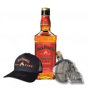 Jack Daniel's Fire 1L, Garrafa Caveira e Boné Jack Fire