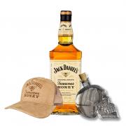 Jack Daniel's Honey 1L, Garrafa Caveira e Boné Jack Honey