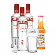 Kit Dia dos Pais - 3un Vodka Smirnoff 998ml, Monin Mini Tangerina 250ml, Copo Monin e Dosador Monin