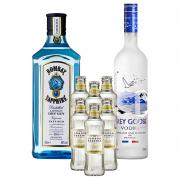 Kit Dia dos Pais - Gin Bombay Sapphire 750ml, Vodka Grey Goose 750ml com 6Un London Essence Classic