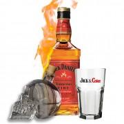 Kit Dia dos Pais - Jack Daniel's Fire, Garrafa caveira e Copo Jack Coke