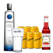Kit Vodka Ciroc + Monin e Copo