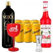 Kit Gin Tônica Toranja - Gin Voxx 950ml, Monin Toranja 700ml, 6un de Tônica Schweppes 350ml, Dosador Monin e Taça Acrílico Muf's