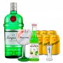 Gin Tanqueray 750ml, Miniatura Monin Maçã Verde 250ml, Taça Gin Tanqueray, Dosador Monin com 6un Tônica Schweppes 350ml