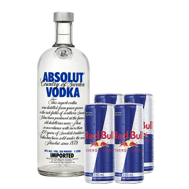 Absolut 1L com 4un de Energético Red Bull