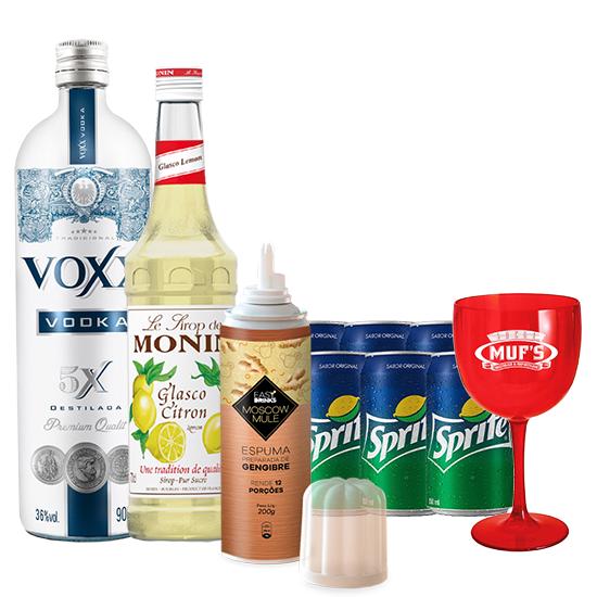 Vodka VOXX 900ml, Espuma Easy Drink Gengibre Moscow Mule, Monin Limao Siciliano, 6Un Refrigerante Sprite e Taça Muf's