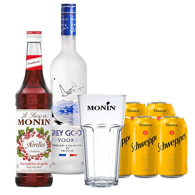 Cranberry Mix In House - Grey Goose 750ml, Monin Cranberry 700ml, Schweppes Tônica 6un 350m e Copo Monin