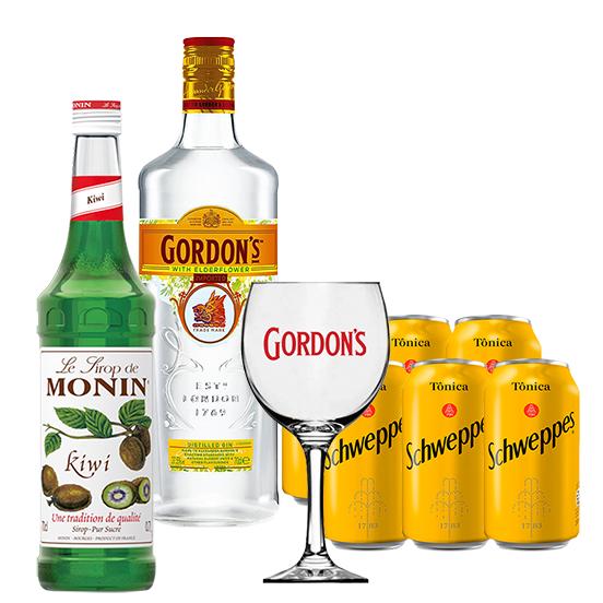 Drink In House - Gordon's Elderflower 750ml, Monin Kiwi 700ml, 6un Tônica Schweppes 350ml e Taça Acrílico Gordon's