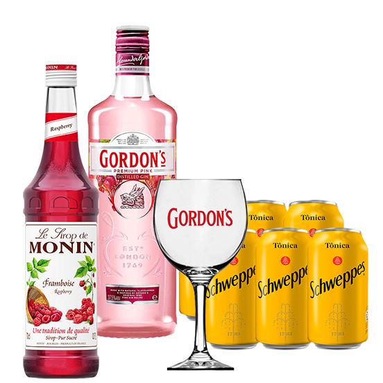 Drink In House - Gordon's Pink 750ml, Monin Framboesa 700ml, 6un Tônica Schweppes 350ml e Taça Acrílico Gordon's