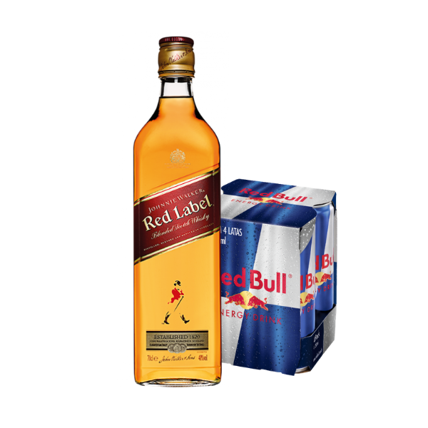 Whisky Red Label J.W. 750ml, 4un Red Bulls