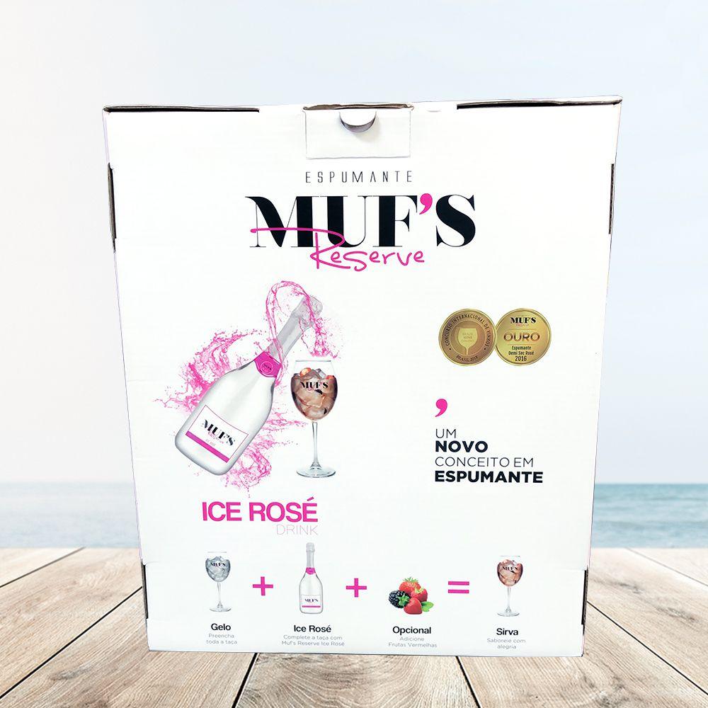 Kit Espumante Muf's Reserve Ice Rosé 750ml com 2 Taças Muf's Reserve