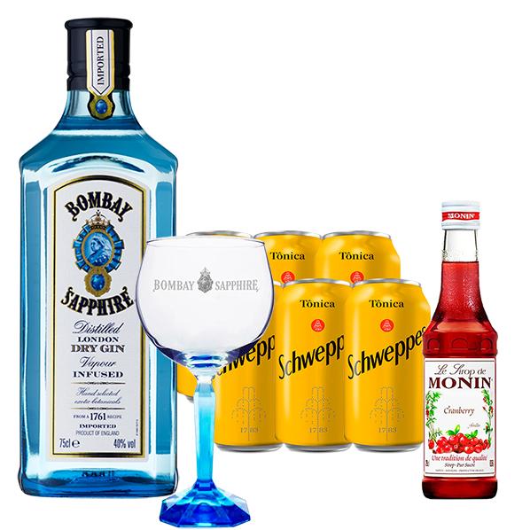 Gin Bombay Sapphire 750ml, Miniatura Monin Cranberry 250ml, Taça Cristal Bombay Sapphire com 6un Tônica Schweppes 350ml