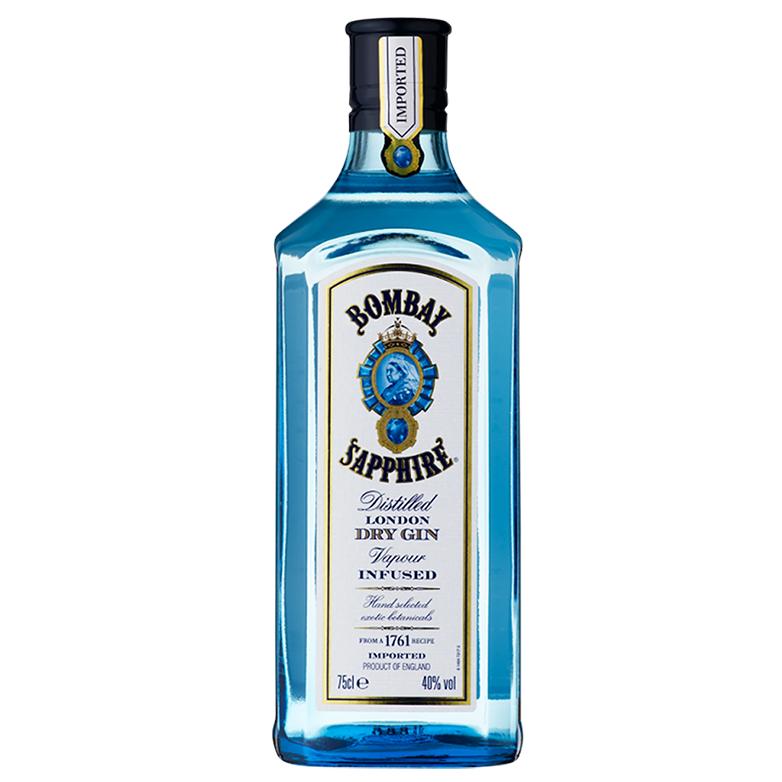 Gin Bombay Sapphire 750ml, Miniatura Monin Maçã Verde 250ml, Taça Cristal Bombay Sapphire com 6un Tônica Schweppes 350ml