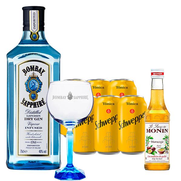 Gin Bombay Sapphire 750ml, Miniatura Monin Maracujá 250ml, Taça Cristal Bombay Sapphire com 6un Tônica Schweppes 350ml