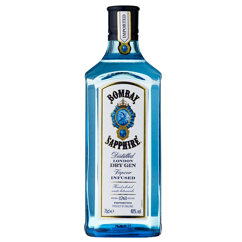 Gin Bombay Sapphire 750ml, Miniatura Monin Tangerina 250ml, Taça Cristal Bombay Sapphire, Dosador Monin com 6un Tônica Schweppes 350ml