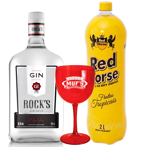 Drink in House - Gin Rock's 995ml com Energético Red Horse Tropical 2L e Taça Personalizada Muf's