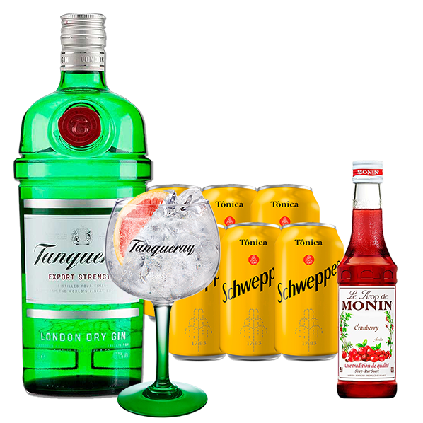 Gin Tanqueray 750ml, Miniatura Monin Cranberry 250ml, Taça Gin Tanqueray com 6un Tônica Schweppes 350ml