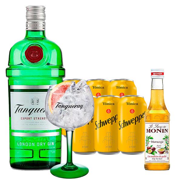 Gin Tanqueray 750ml, Miniatura Monin Maracujá 250ml, Taça Gin Tanqueray com 6un Tônica Schweppes 350ml