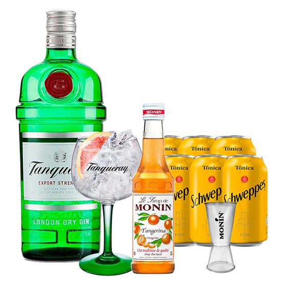 Gin Tanqueray 750ml, Miniatura Monin Tangerina 250ml, Taça Gin Tanqueray, Dosador Monin com 6un Tônica Schweppes 350ml