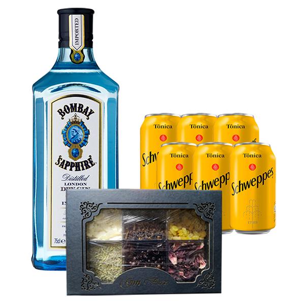Gin Tônica Especiarias In House - Bombay Sapphire 750ml, Tônica 6un 350ml e Kit Gin Especiarias Pequeno
