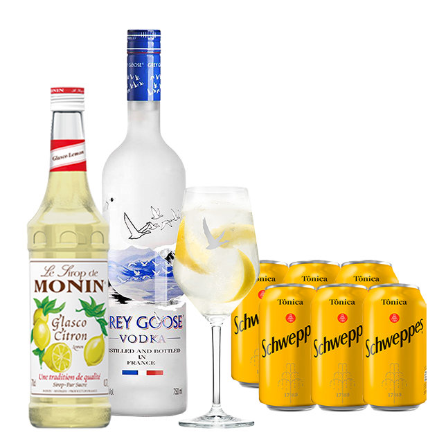 Grey Goose 750ml, Monin Limão Siciliano 700ml, Schweppes Tônica 6un 350ml e Taça Oficial Grey Goose