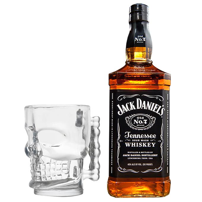 Jack Daniels Old NO.7 1L com Caneca Caveira