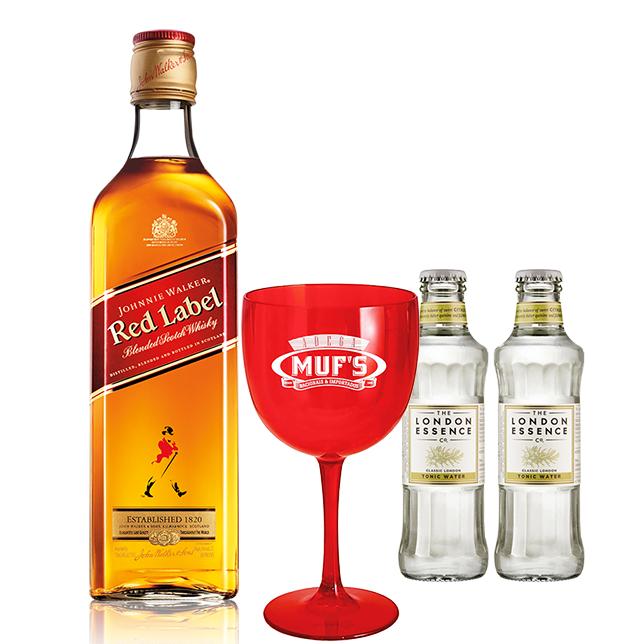 Johnnie Walker Red Label 1L com 2un de Tônica London Essence e Taça Muf's